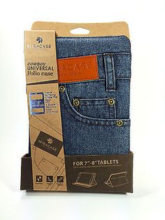 """Denim Case for iPad Mini and 7""""-8"""" Tablets. Miracase Cowboy Jeans Pocket Design"""