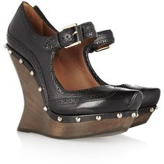 McQ Alexander McQueen Studded leather and wooden wedge Mary Janes ($635). Duuuude!