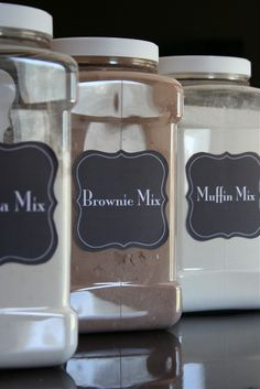 DIY: Baking mixes that save you money! She includes label templates and recipes.