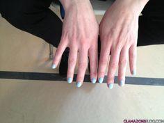 """Essential Larimar"" blue nail lacquer ~ Oscar de la Renta.  'I Need This To Live: Light Blue Nail Polish at Oscar de la Renta's Fall 2012 Show #NYFW « Glamazons Blog' -- #lightblue #bluenailpolish #bluenails"