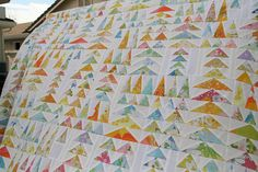 """""""geese in the forest"""" quilt pattern using vintage bed sheet and kona white"""