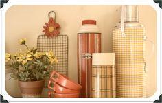 Vintage retro drink ware, vintage thermos, vintage melamine