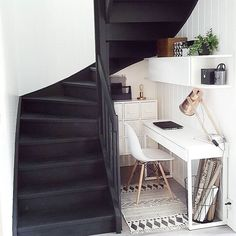 Stair nook workspace idea › via @workspacegoals on Instagram