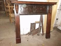 old oak fire surround fireplace mantle piece | eBay - would paint it