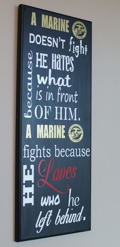 """Why A Marine Fights"" USMC Wood Wall Hanging/plaque"