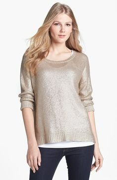Halogen® Foiled Sweater (Regular & Petite) available at #Nordstrom (Must see this item to appreciate the smooth texture and drape. I like it for the holidays. jhughes2020)