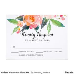 Modern Watercolor Floral Wedding RSVP3