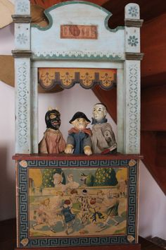 Antique Puppet Theatre With Puppets.