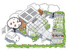 Publieks- en aanmoedigingsprijs De Voorsprong 2013 voor Groene Vingers! Woning, kas en eetbare tuin. Schets: Yullia Ink