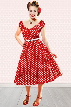 Collectif Clothing Dolores Red Polkadot Swing Dress 10244 3