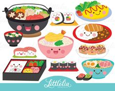 Cute Digital Clipart and DIY printable by LittleLiaGraphic on Etsy Food Clipart, Cute Clipart, Vector Clipart, Cute Food Drawings, Kawaii Drawings, Cute Drawlings, Valentines Day Clipart, Masterchef, Food Icons