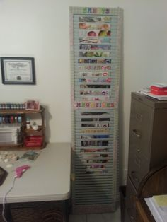 Great magazine rack for my craft room!  Just took a bi-fold closet door and decorate and your good to go! Can mount to the wall or just lean against wall so it's movable.