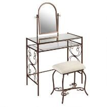 Clarisse Bronze Scroll Metal Vanity with Stool