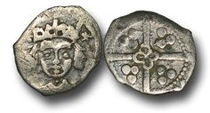 Edward IV (1461-1483), Penny, 0.58g., Light Cross and Pellets Coinage (c.1470-78), Dublin mint, crowned facing bust of Edward, two saltires at crown, rev.,  long cross with quatrefoil at the centre, (S.6367; JBurns Du-22 (type 22)), very fine