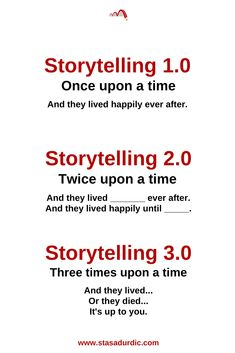 Storytelling has evolved. It went through the three stages: storytelling 1.0, storytelling 2.0, and storytelling 3.0. #storytelling #stories #thefutureofstorytelling