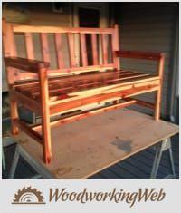 EDITOR'S CHOICE (05/24/2016) Cedar bench by Dusty1 View details here: https://woodworkingweb.com/creations/2845-cedar-bench