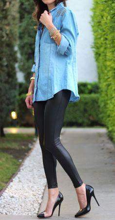 slick leggings + denim
