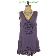 NWOT FREE PEOPLE WILD STRAWBERRIES TUNIC TANK BOHO TOP PURPLE V-NECK S B3 #FreePeople #Tunic