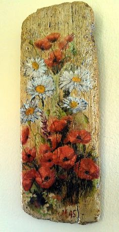 Using standard black foamboard Pallet Wall Art, Pallet Painting, Wood Painting Art, Tole Painting, Painted Driftwood, Driftwood Crafts, Wooden Crafts, Creative Christmas Gifts, Painted Boards