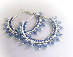 Blue crytals hoop earrings