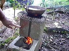 Cement block stove, tinder cooking