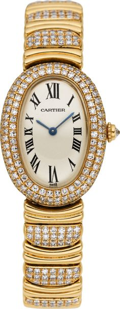 Cartier Lady's Diamond, Gold, Baignoire Wristwatch, modern