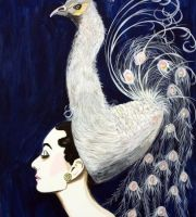 """Audrey And Peacock In The Moonlight"" 48 x 72"
