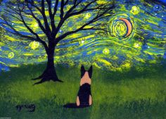 German Shepherd Dog Abstract Outsider Folk Art Large PRINT Todd Young STARRY SKY | eBay
