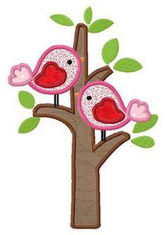 love birds tree applique machine embroidery design by FunStitch, $4.00