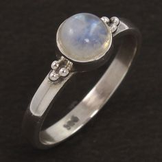 925 Sterling Silver Jewelry Ring Size US 6.75 Natural RAINBOW MOONSTONE Gemstone #Unbranded