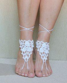 Barefoot sandals, Ivory, Wedding beach party, crochet sandals, foot jewelry, yoga, leg decoration, anklet, hippie sandals