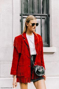 Saint LaurentSaint Laurent fringed suede jacket red ($4,790)