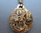 Steampunk Victorian Anchor Watch Movement Pendant