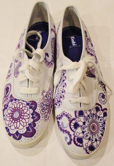 Purple Paisley Keds Tennis Shoes Custom Made & by RadNADdesigns #shoes #diy #paisley