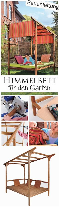 Himmelbett für den Garten If you do not want to have a standard garden lounger, you can put a four-poster bed in the garden. We show you how to build the outdoor daybed yourself. Thanks to the awning you are also protected from too much sunlight. Diy Daybed, Outdoor Daybed, Outdoor Decor, Outdoor Loungers, Balcony Furniture, Garden Furniture, Garden Pool, Garden Beds, Garden Loungers
