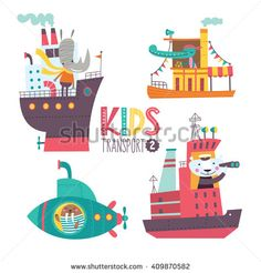 Kids transport collection with cute animals. Part 2. Vector illustration on a white background. Ocean liner, steamship, submarine, icebreaker.