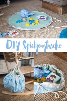 Sewing a DIY toy bag - play mat with drawstring for several .- DIY Spielzeugtasche nähen – Spieldecke mit Tunnelzug für mehr Ordnung Sew a DIY toy bag for turning - Sewing Projects For Beginners, Knitting For Beginners, Sewing Tutorials, Sewing Hacks, Knitting Projects, Baby Diy Projects, Baby Knitting Patterns, Crochet Patterns, Sewing Toys