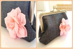Say hello to your newest fashion accessory! Clutch Purse, Coin Purse, Denim Flowers, Distressed Denim, Colorful Flowers, New Fashion, Gift Guide, Birthday Gifts, Fashion Accessories