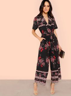 To find out about the Waist Knot Halter Neck Floral Jumpsuit at SHEIN, part of our latest Jumpsuits ready to shop online today! Bridal Jumpsuit, Floral Jumpsuit, Jumpsuit Outfit, Jumpsuit Style, Black Pattern, Halter Neck, Short Skirts, Fashion News, Knot