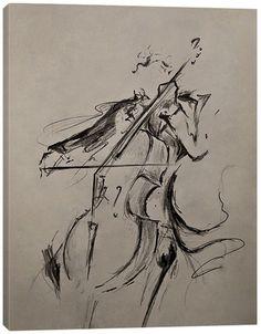 Jaxson Rea The Cellist Sketch Wrapped Canvas