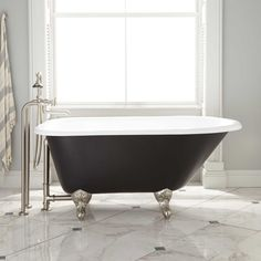 """Signature Hardware 938009-54-TD Miya 55"""" Cast Iron Soaking Clawfoot Tub with Tap Deck Painted in a black, the 54"""" Miya Cast Iron Clawfoot Tub has a bold look and classic design. This bathtub is a great choice for homeowners who love statement pieces. To complete the look, pair the Miya with a stylish tub faucet.Signature Hardware 938009-54-TD Features:Covered under Signature Hardware's limited lifetime warrantyConstructed of cast ironCast iron construction is durable and will last a lifetimeSoak Bathroom Red, Grey Bathrooms, Bathroom Ideas, Bathroom Interior, Bathroom Storage, Master Bathroom, Cottage Bathrooms, School Bathroom, Downstairs Bathroom"""
