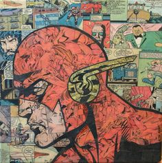 Collage artist Mike Alcantara uses comics to create these awesome one off superhero collages ~ Flash