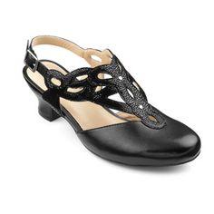 1930sStyleShoes Juliette Shoes  - Chic cushioned heels - Black  Black Pebble size 11 $119.00 AT vintagedancer.com