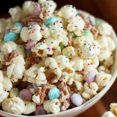 Funfetti Popcorn - change it up for alternate holidays, ie Bunny Bait for Easter.  Warning: HIGHLY addictive!