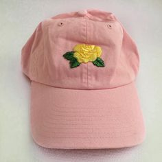 single yellow rose embroidered baseball cap by storebadlands