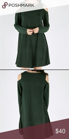 🎉SALE🎉Forest Green Cold Shoulder long sleeve Green Cold Shoulder long sleeve dress 55% cotton 35% polyester 10% spandex loveriche Dresses Long Sleeve