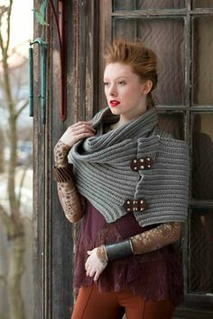 """VOGUE Knitting Crochet 2014, photo by Rose Callahan  Item name: Chunky Wrap Designer: Cristina Mershon Yarn Information: Zealana Air Chunky For sizes: One size 11.5x80"""" Amounts: 8 balls in #L06"""