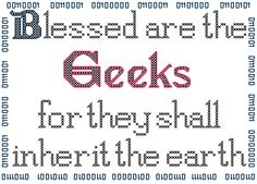 Blessed are the Geeks Counted Cross Stitch Pattern PDF. $5.00, via Etsy.