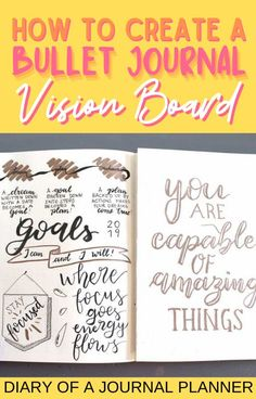 Manifest your dream life with a bullet journal vision board! Get the ultimate how-to guide here! #bulletjournalpages #visionboard #manifest Bullet Journal Vision Board, Bullet Journal Prompts, Bullet Journal Contents, Creating A Bullet Journal, Bullet Journal How To Start A, Bullet Journal Ideas Pages, Bullet Journal Inspiration, Journal Pages, Journals