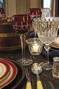 AJKA Red Arabella wine goblet, and the Godinger Sutton Place lead crystal goblet